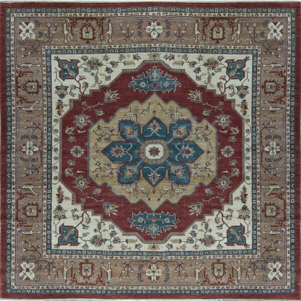 One-of-a-Kind Sultanabad Hand-Knotted Red/Beige 11'8 Square Wool Area Rug