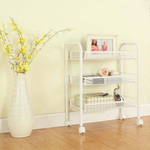 24.8 H x 17.7 W 3-Tier Metal Mesh Rolling Cart Shelving Unit with Casters by LANGRIA