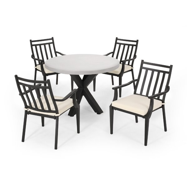 Mabel Outdoor 5 Piece Dining Set with Cushions by Latitude Run