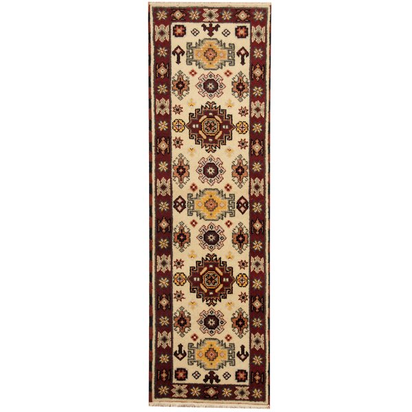 Kazak Hand-Knotted Ivory/Burgundy Area Rug by Herat Oriental