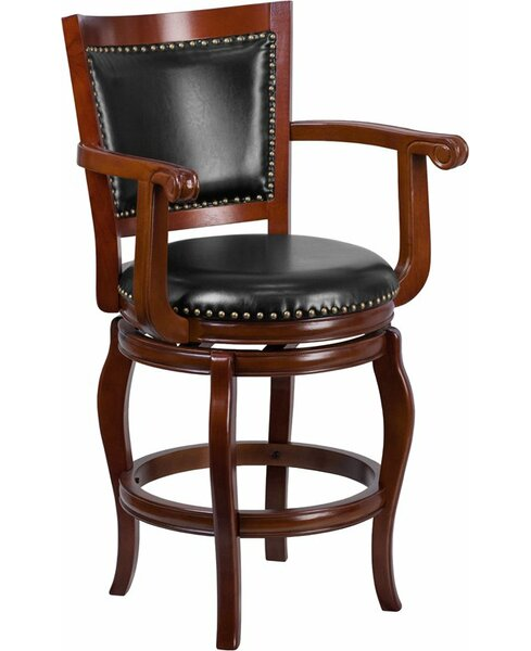 Matheson 26'' Panel Back Swivel Bar Stool by Darby Home Co