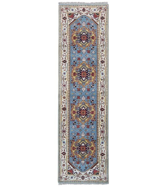 One-of-a-Kind Allegany Oriental Hand-Knotted Wool Blue/Beige Area Rug by Bloomsbury Market