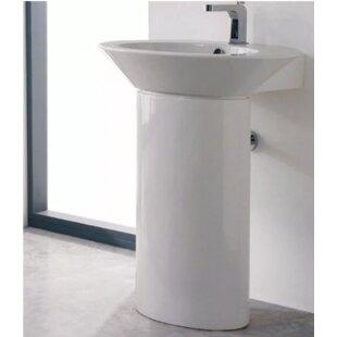 Top Wish Ceramic 32 Pedestal Bathroom Sink with Overflow ByScarabeo by Nameeks