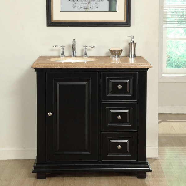 36 Single Sink Bathroom Vanity Set with Sink on Left by Fleur De Lis Living