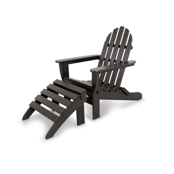 Classics Plastic Folding Adirondack Chairs with Ottoman by Ivy Terrace Ivy Terrace