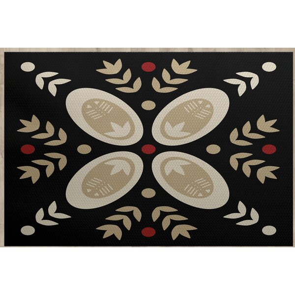 Mazee Black Indoor/Outdoor Area Rug by Ivy Bronx