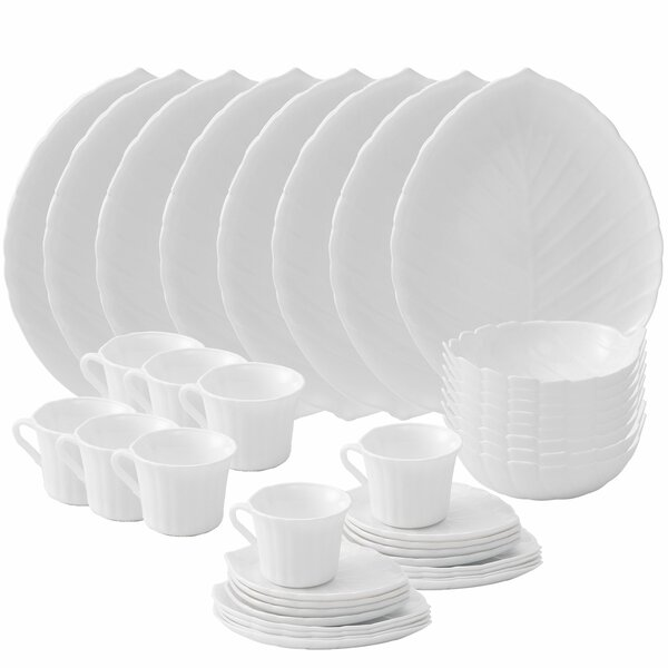 Vine Opal 40 Piece Glass Dinnerware Set, Service for 8 by Matashi Crystal