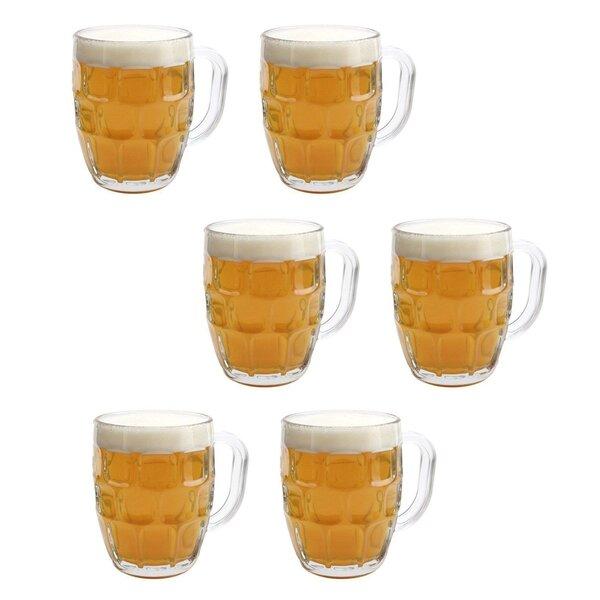 Sasha Dimple Pub Stein Tankard Beer 20 Oz. Pint Glass (Set of 6) by Winston Porter