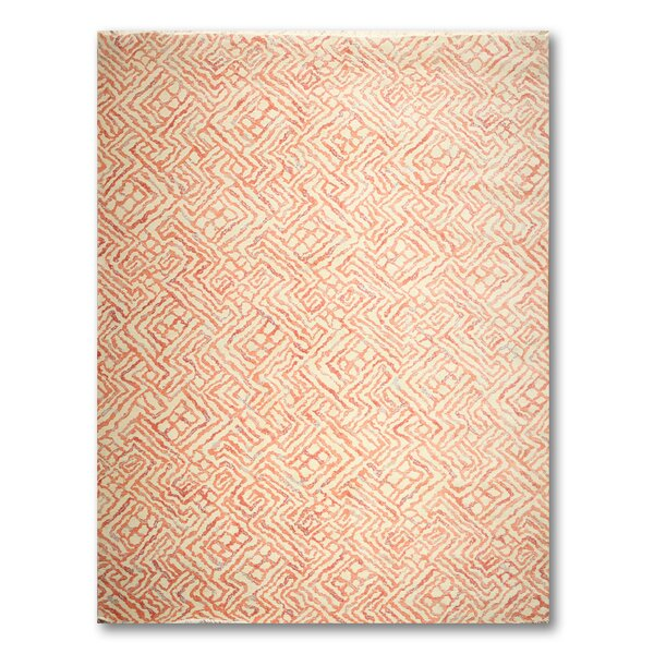 Fitch Wool Beige/Coral Area Rug by Bloomsbury Market