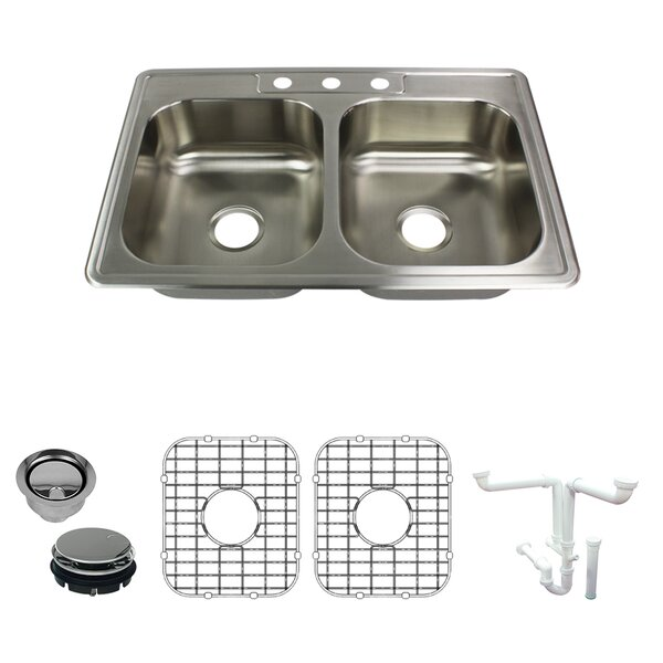 Select 33 L x 22 W Double Basin Drop-In Kitchen Sink with Sink Grid and Drain Assembly
