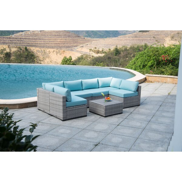 Moore Outdoor 7 Piece Rattan Sectional Seating Group with Cushions by Rosecliff Heights