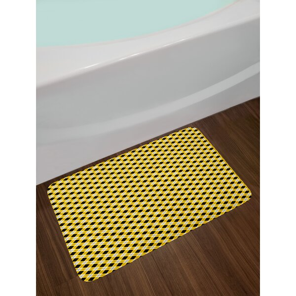 Argyle Pattern with Geometric Bath Rug by East Urban Home