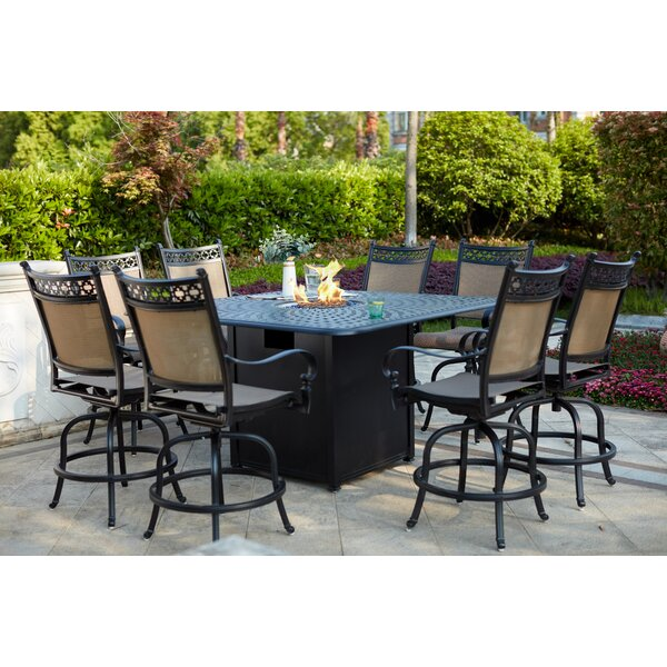 Minard 9 Piece Bar Height Dining Set with Firepit by Canora Grey