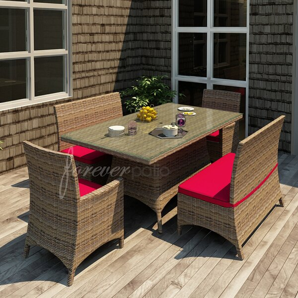Demetra 5 Piece Dining Set with Sunbrella Cushions by Highland Dunes