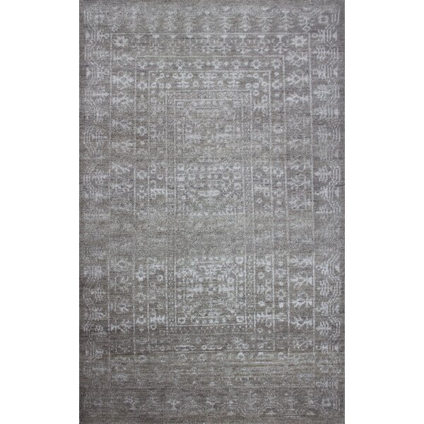 Deshaun Hand-Knotted Gray Area Rug by Rosdorf Park