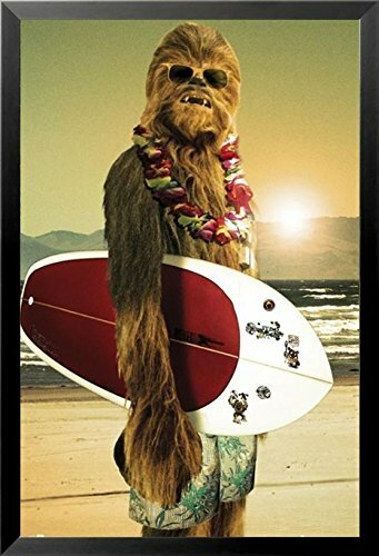 'Star Wars Chewbacca with Surfboard' Framed Graphic Art