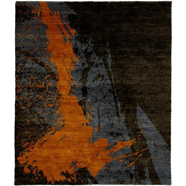 One-of-a-Kind Tillis Hand-Knotted Tibetan Brown/Orange 8' Square Wool Area Rug