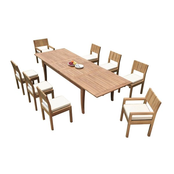 Adrien 9 Piece Teak Dining Set by Rosecliff Heights
