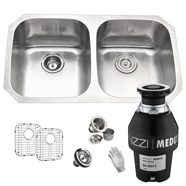 Moore Stainless Steel 32 L x 19 W Double Basin Undermount Kitchen Sink by ANZZI