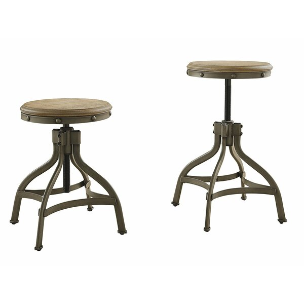 Cleo Wood/Metal Adjustable Height Swivel Bar Stool (Set of 2) by 17 Stories