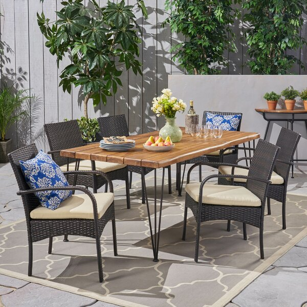 Cquina Patio 7 Piece Dining Set with Cushions by Brayden Studio