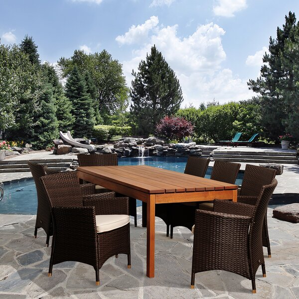 Brighton Eucalyptus 9 Piece Dining Set with Cushions by Sol 72 Outdoor
