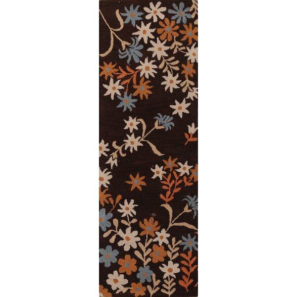 Runner Henryetta Floral Handmade Tufted 2'7'' x 7'11'' Wool Brown Area Rug