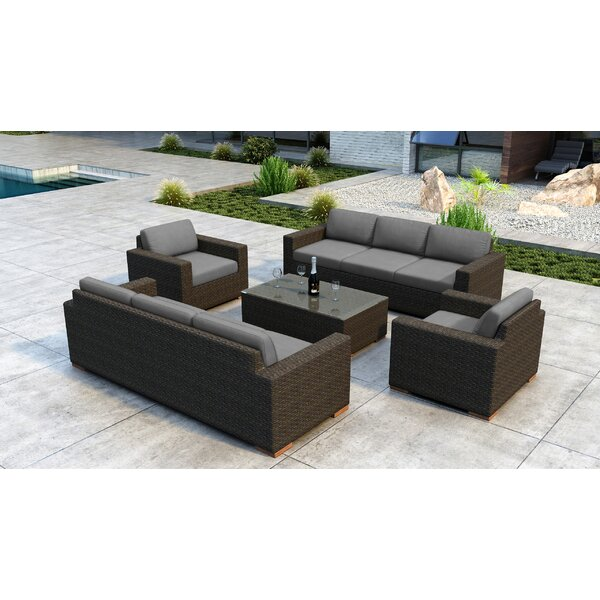 Glen Ellyn 5 Piece Rattan Sunbrella Sofa Seating Group with Cushions by Everly Quinn Everly Quinn