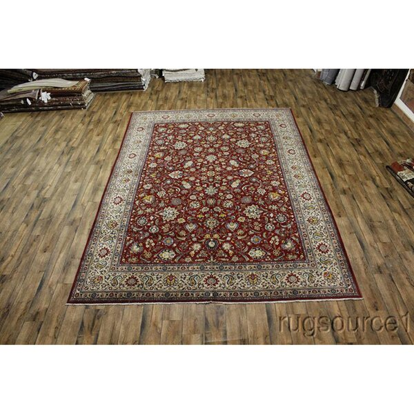 One-of-a-Kind Loralee Hand-Knotted 1960s Kashan Burgundy 10'2 x 14'3 Wool Area Rug