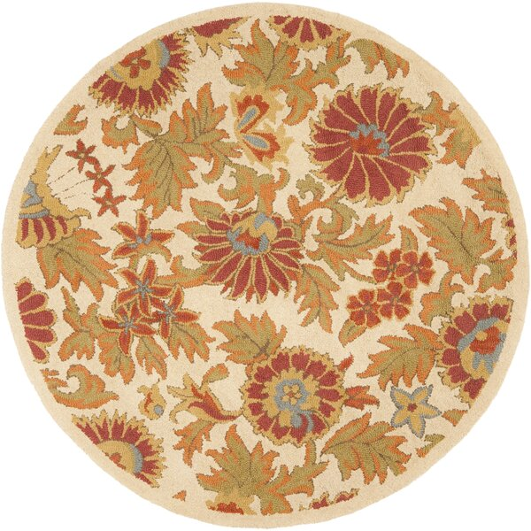 Bradwood Hand-Woven Wool Ivory/Red Area Rug by Charlton Home