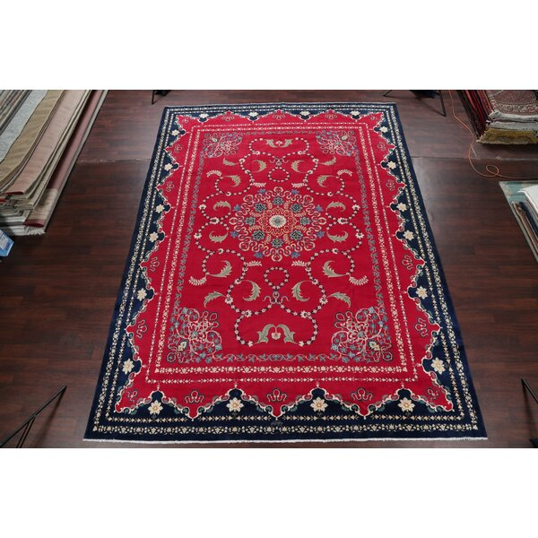 One-of-a-Kind Haysi Hand-Knotted Red/Green 10'5 x 14'3 Wool Area Rug