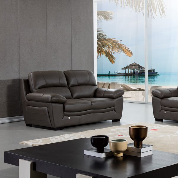 Best #1 Uecker Leather Loveseat By Latitude Run Amazing