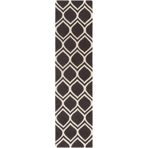 Zellner Hand-Tufted Wool Black/Beige Area Rug