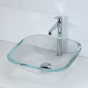 Kesia Transparent Glass Square Vessel Bathroom Sink