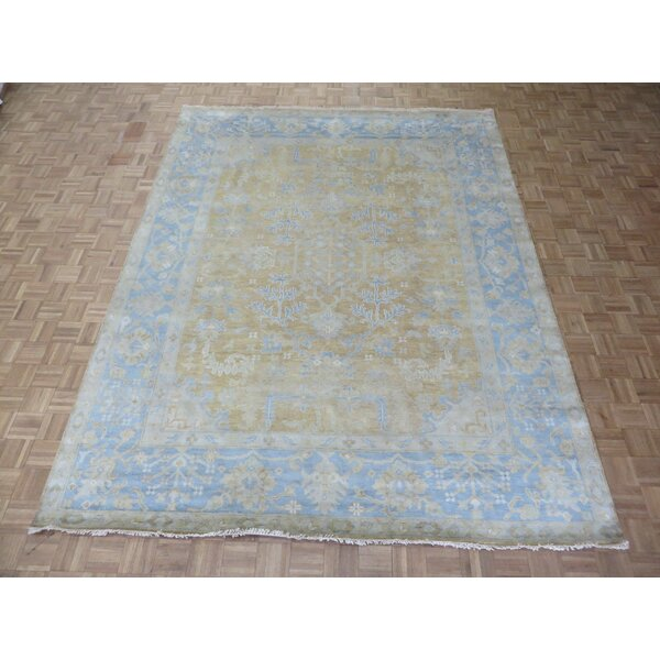 One-of-a-Kind Eladia Oushak Hand-Knotted Wool Tan/Blue Area Rug by World Menagerie