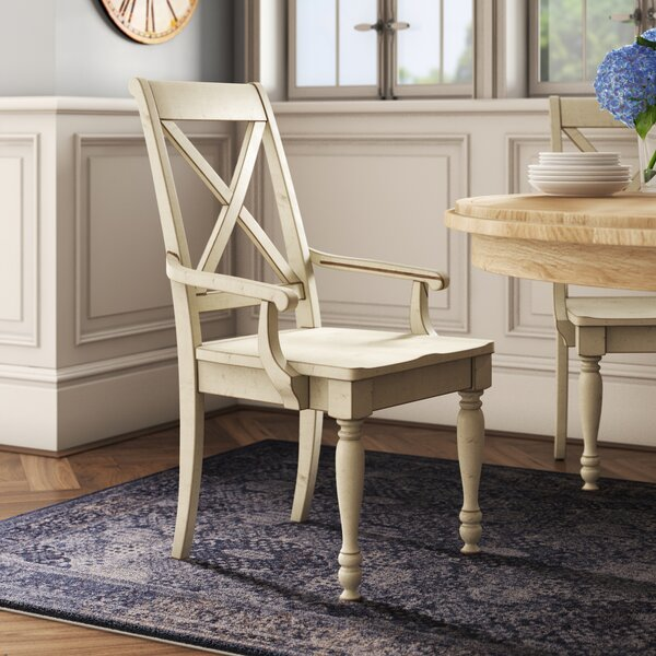 Eminence Cross Back Arm Chair in White by Ophelia & Co. Ophelia & Co.