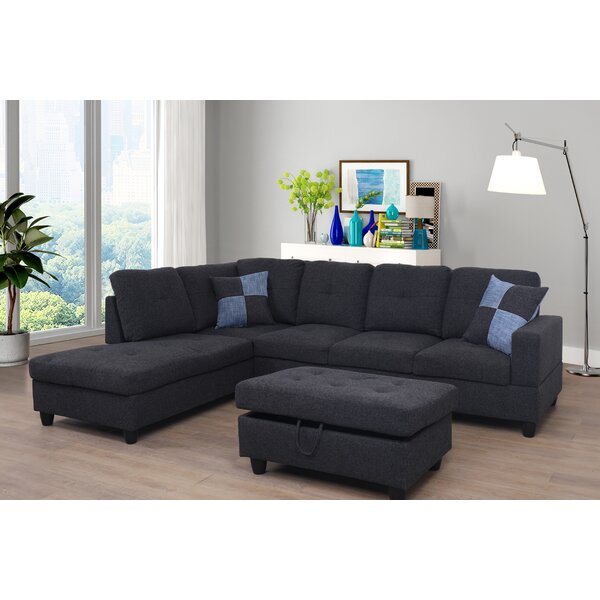 Top Offers Jaiden Sectional with Ottoman by Ebern Designs by Ebern Designs