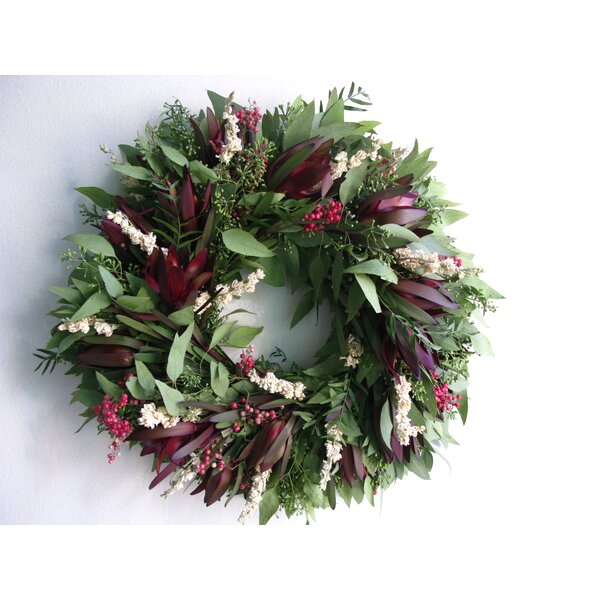 16 Protea and Larkspur Wreath by From the Garden