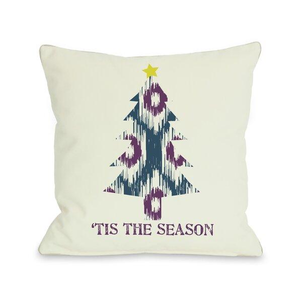 Tis The Season Ikat Tree Reversible Throw Pillow by One Bella Casa