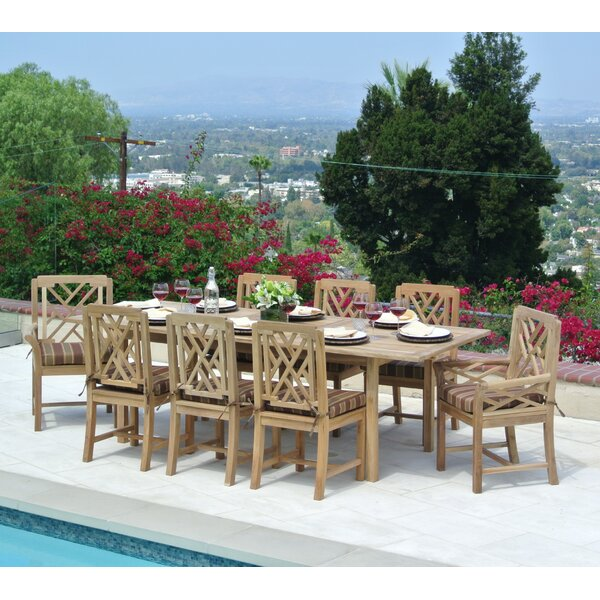 Malibu Outdoor Teak 9 Piece Dining Set with Cushion by Trijaya Living