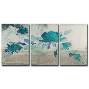 Painted Petals IV-B 3 Piece Painting Print on Wrapped Canvas Set by Ready2hangart