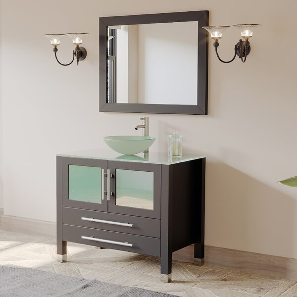 Meserve Solid Wood Glass Vessel 36 Single Bathroom Vanity Set with Mirror by Brayden Studio