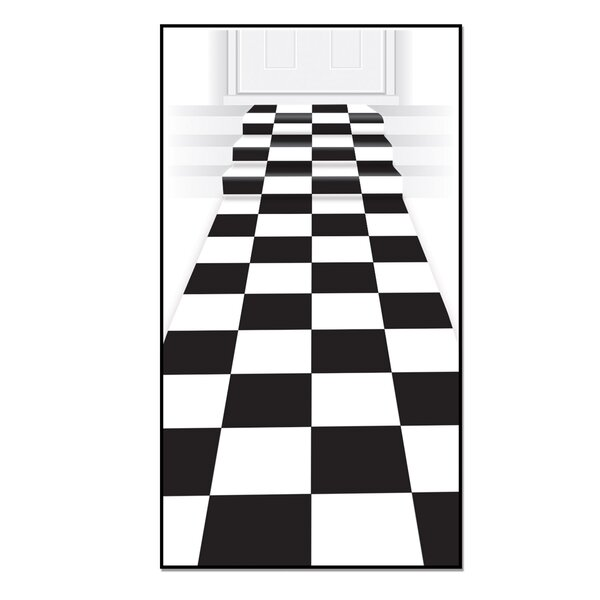 Checkered Black/White Area Rug by The Holiday Aisl