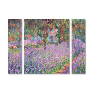 'Artist's Garden at Giverny' by Claude Monet 3 Piece Painting Print on Wrapped Canvas Set by Trademark Fine Art