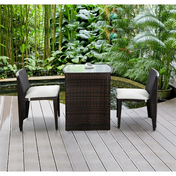Damarion 3 Piece Rattan Conversation Set with Cushions by Zipcode Design