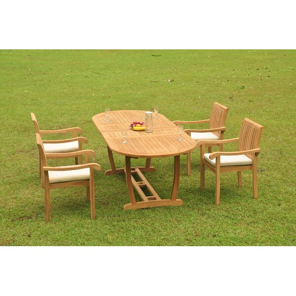 Pfeiffer Luxurious 5 Piece Teak Dining Set by Rosecliff Heights