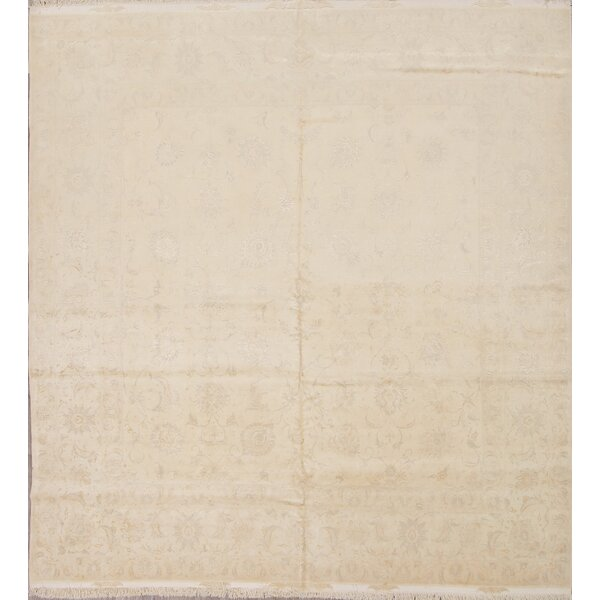 One-of-a-Kind Sia Hand-Knotted New Age Beige/Ivory 9'8 x 10'1 Wool Area Rug