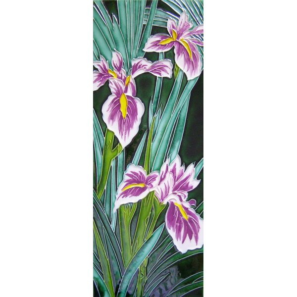 6 x 16 Ceramic Two Irises Decorative Mural Tile by Continental Art Center
