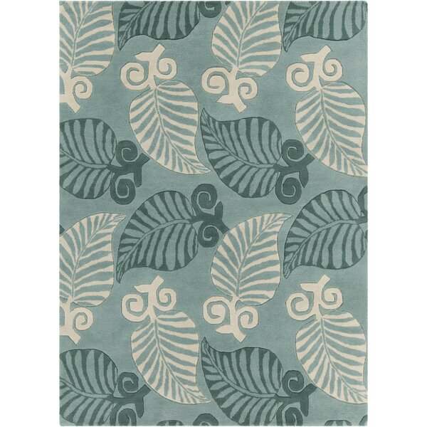 Arcadia Hand Tufted Rectangle Transitional Green/Cream Area Rug by Bay Isle Home