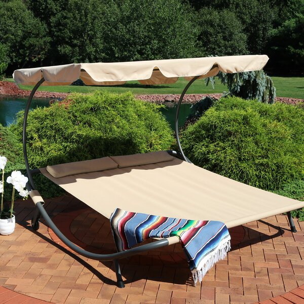 Cartert Outdoor Double Chaise Lounge with Cushion by Ebern Designs